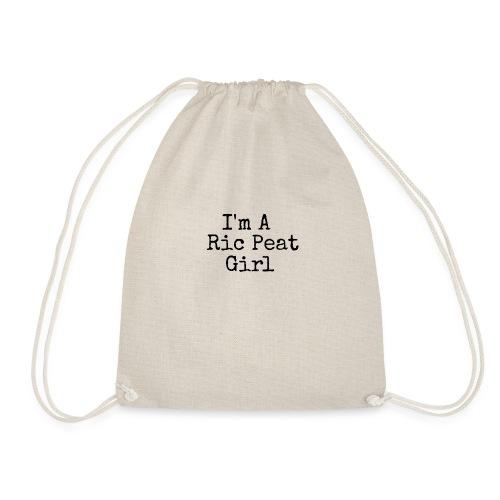 Ric Peat Girl (Black Text) - Drawstring Bag