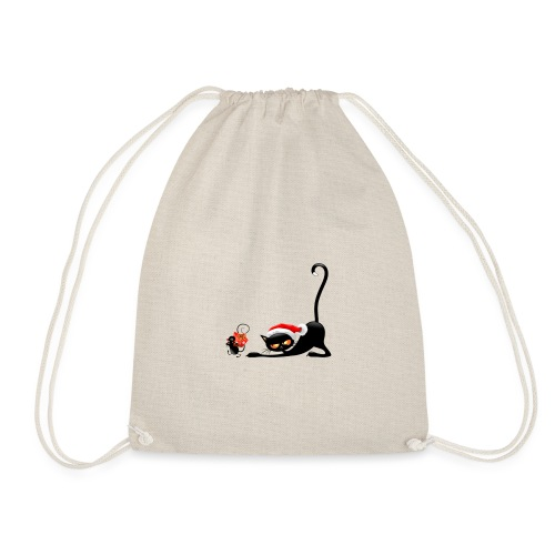 Cat chases mouse - Drawstring Bag