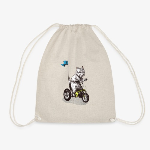 West Highland Terrier Tricycle - Drawstring Bag