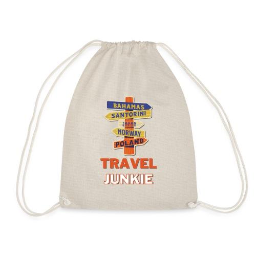 traveljunkie - i like to travel - Turnbeutel