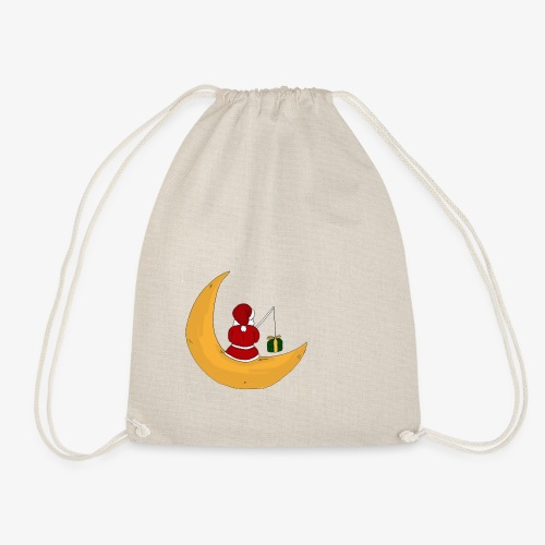 Santa sur un croissant de lune - Drawstring Bag