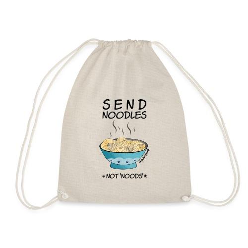 Amy's 'Send Noodles NOT noods' design (black txt) - Drawstring Bag