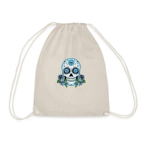 Blue Sugar Skull - Drawstring Bag
