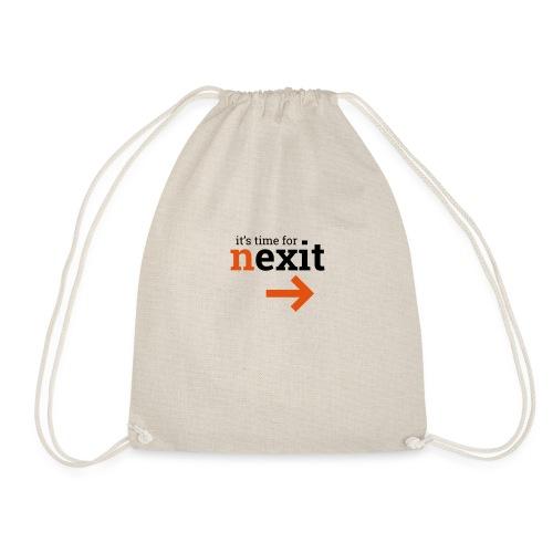 its time for nexit logo in zwart oranje - Gymtas