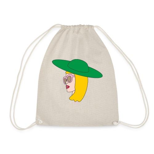 Frauenkopf mit Hut - Turnbeutel