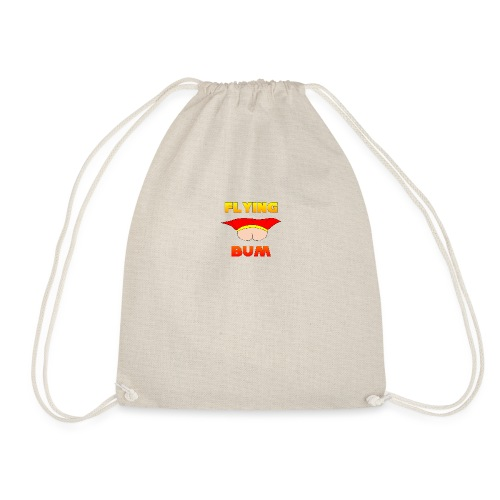 Flying Bum (face on) with text - Drawstring Bag