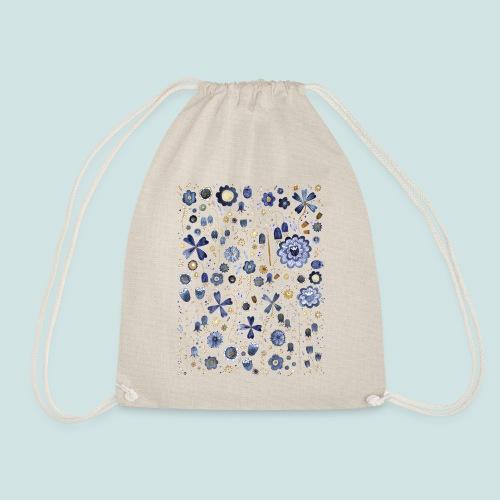Indigo Flower Watercolour Mashup - Drawstring Bag