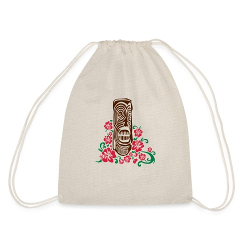 Tiki Totem with Hibiscus Flowers - Drawstring Bag