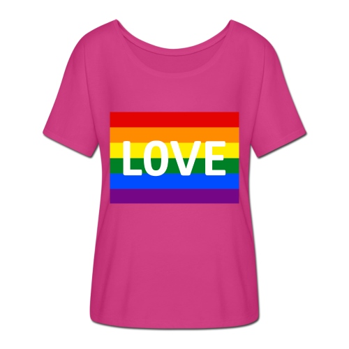 LOVE SHIRT - Dame T-shirt med flagermusærmer fra Bella + Canvas
