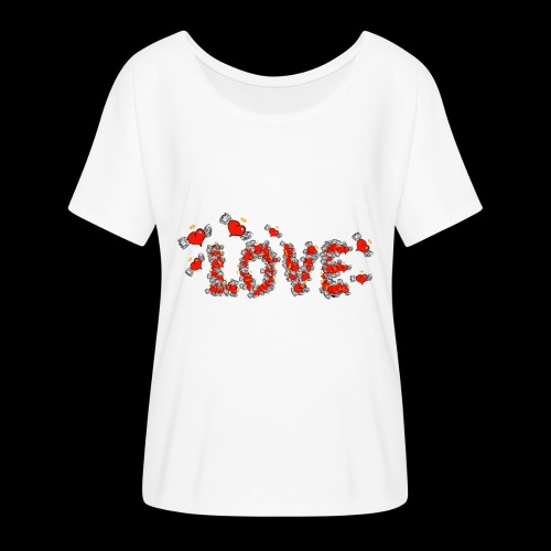 Flying Hearts LOVE - Women's Batwing-Sleeve T-Shirt by Bella + Canvas