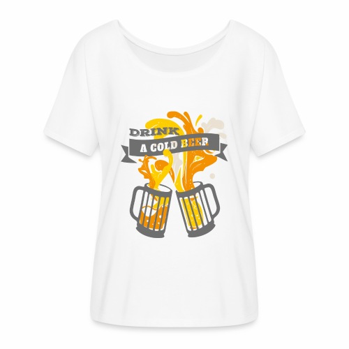 Drink a Cold Beer - Oktoberfest Volksfest Design - Frauen T-Shirt mit Fledermausärmeln von Bella + Canvas