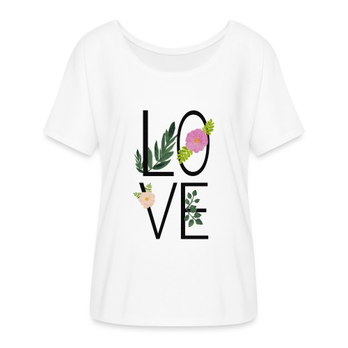 Love Sign with flowers - Women's Batwing-Sleeve T-Shirt by Bella + Canvas