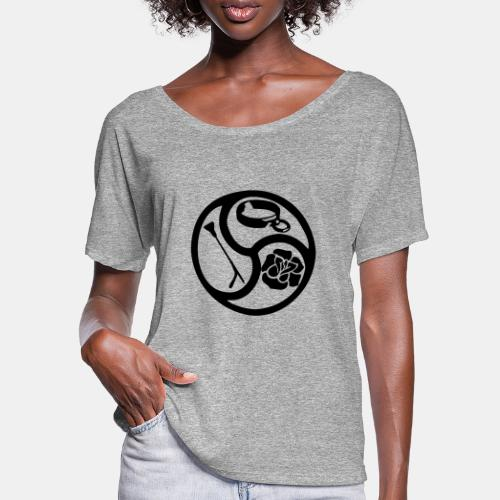 Triskele triskelion BDSM Emblem HiRes 1 color - Frauen T-Shirt mit Fledermausärmeln von Bella + Canvas