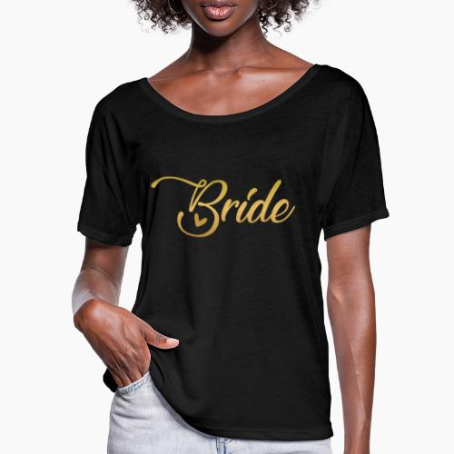 Bride - yellow lettering with a decor. heart - Women's Batwing-Sleeve T-Shirt by Bella + Canvas