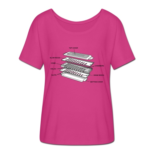Exploded harmonica - black text - Women's Batwing-Sleeve T-Shirt by Bella + Canvas
