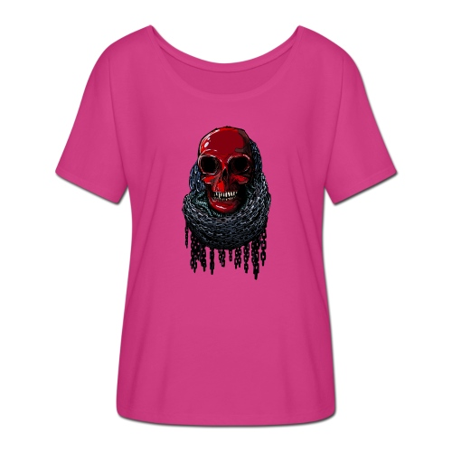 RED Skull in Chains - Women's Batwing-Sleeve T-Shirt by Bella + Canvas