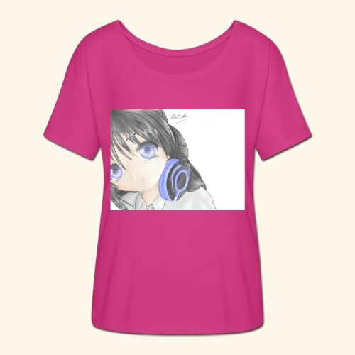 Anime Girl with Headphones - Flowy Women's T-Shirt by Bella + Canvas