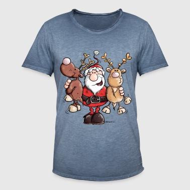 Mikołaj tuli renifery - Koszulka męska vintage