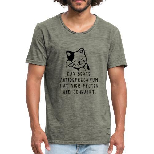 Katzen sind das beste Antidepressivum - Männer Vintage T-Shirt