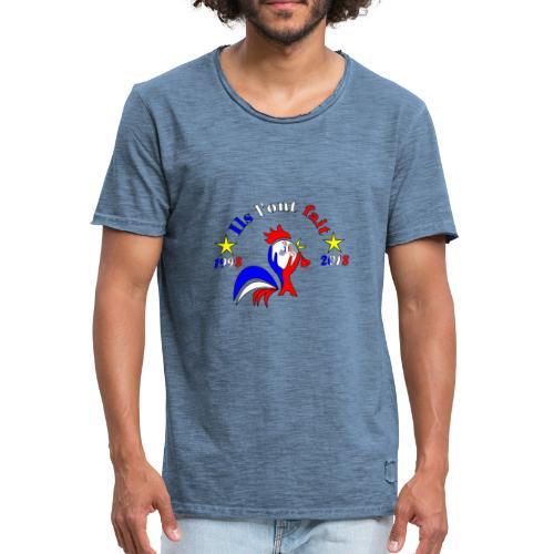 champion du monde 2018 France coq 2 étoiles - T-shirt vintage Homme