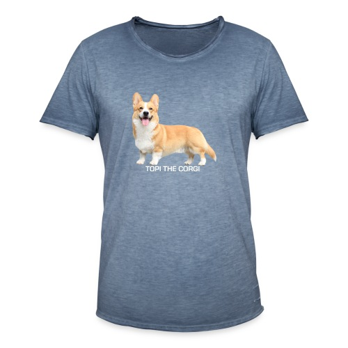 Topi the Corgi - White text - Men's Vintage T-Shirt