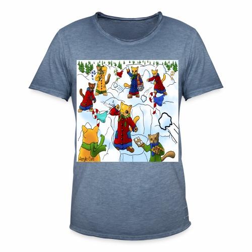 Christmas Snowball Cats 2 - Men's Vintage T-Shirt