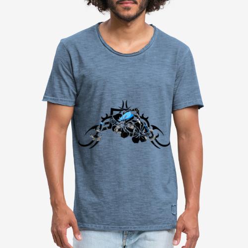moto-bobber-tribal-flower - T-shirt vintage Homme