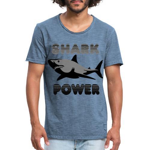 Shark Power Schwarz - Männer Vintage T-Shirt
