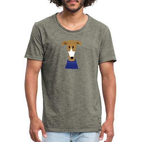 Windhund in blauem Pulli - Männer Vintage T-Shirt