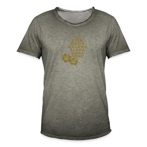 Die 7 Huna Prinzipien / Hibiscus Blüten - Männer Vintage T-Shirt
