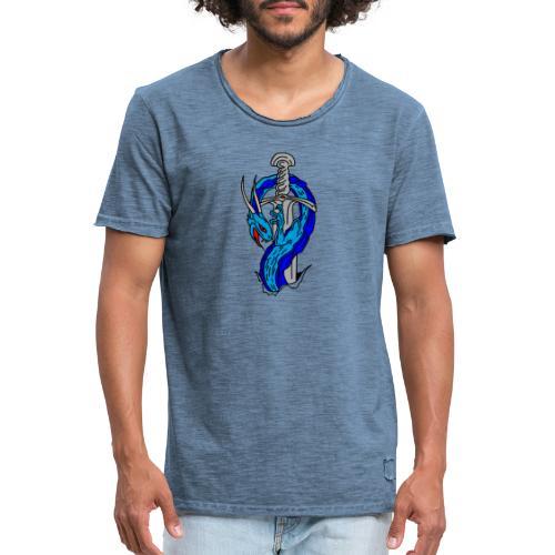 daga dragon vectorizado - Camiseta vintage hombre
