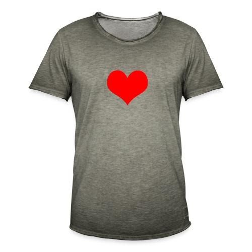 rotes Herz - Männer Vintage T-Shirt