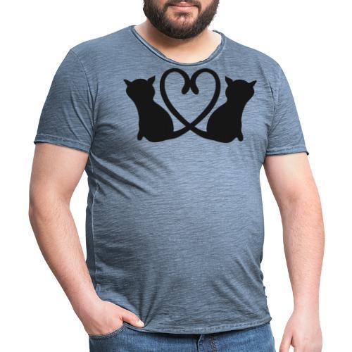 Katzen bilden ein Herz mit ihren Schwänzen - Männer Vintage T-Shirt