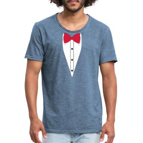 Anzug mit Fliege - Männer Vintage T-Shirt