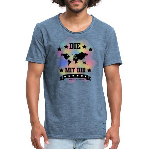 Die Welt mit dir bunt weiss - Klamottendesigns - Männer Vintage T-Shirt
