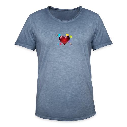 coeurs coloré - T-shirt vintage Homme