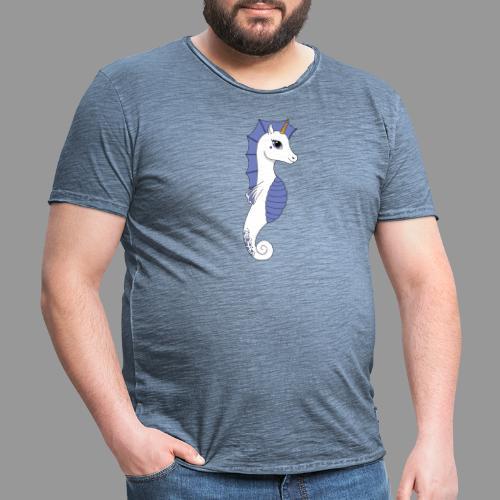 Seepferdeinhorn weiss blau - Männer Vintage T-Shirt