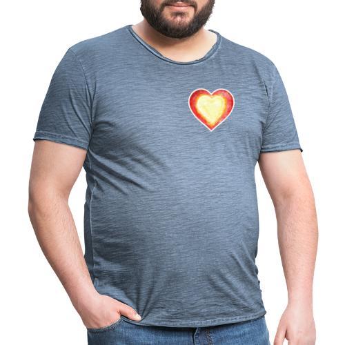 Burning Fire heart - Men's Vintage T-Shirt
