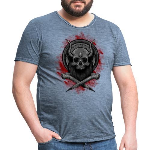 VIKING SKULL - Miesten vintage t-paita
