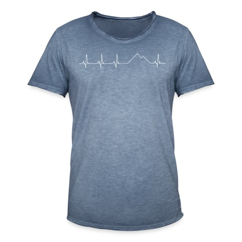 Electrocardiograma blanco - Camiseta vintage hombre