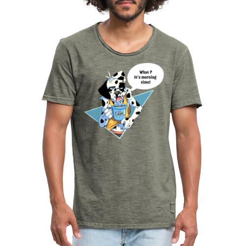 Dalmatian with his morning coffee - Men's Vintage T-Shirt
