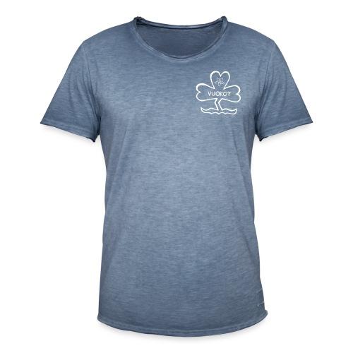 vuokkologo valkoinen - Miesten vintage t-paita