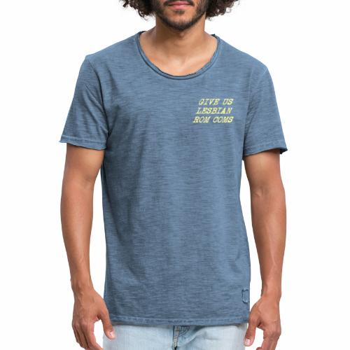 Give Us Lesbian Rom Coms - yellow - Men's Vintage T-Shirt