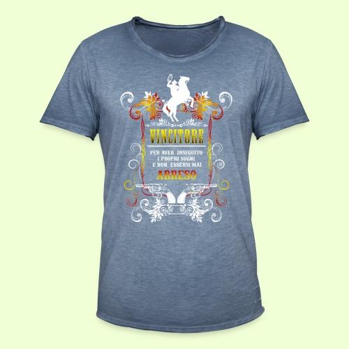 disegno linea Vincitore - Maglietta vintage da uomo