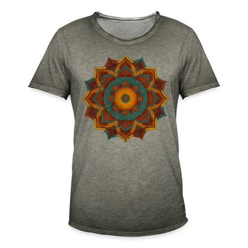 HANDPAN hang drum MANDALA teal red brown - Männer Vintage T-Shirt