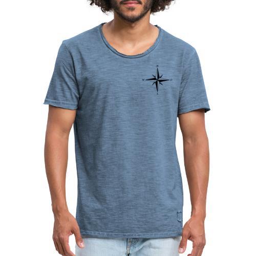 Kompas sort - Herre vintage T-shirt