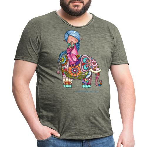 Nalini la petite Hindoue et Bali l'éléphant - T-shirt vintage Homme
