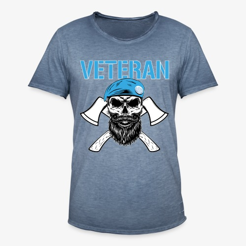 Veteran - Dödskalle med blå basker och yxor - Vintage-T-shirt herr