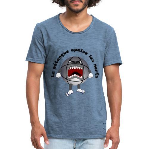 t shirt petanque amusant cool apaise les nerfs - T-shirt vintage Homme
