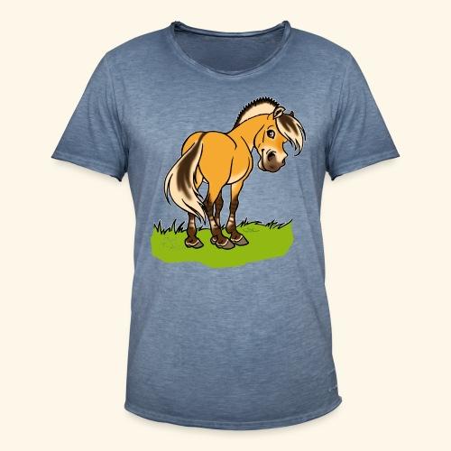 Freundliches Fjordpferd (Ohne Text) Weisse Umrisse - T-shirt vintage Homme